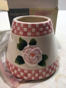Mainstays Home Rose With Checks Ceramic Candle Shade NIB FREE SHIPPING