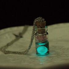 Brillan En La Oscuridad Flor de cristal Deseando Botella Deseo Colgante Collar & Bolsa De Regalo