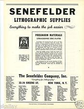 1948 Print Ad of Senefelder Company Lithographic Supplies Pressroom Materials