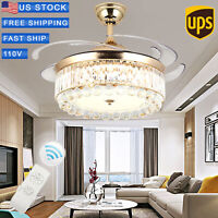 """42""""Luxury Invisible Blade LED Ceiling Fan Lamp Chandelier Pendant Gold + Remote"""