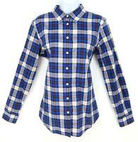 Banana Republic Shirt Button Up Womens Size M Blue Plaid 100% Cotton Long Sleeve