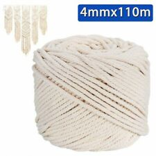 4mm Macrame Rope Natural Beige Cotton Twisted Cord Artisan Hand Craft DIY 110M