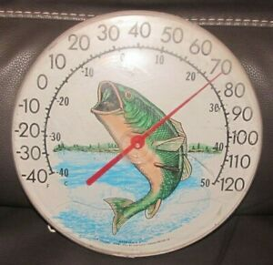 """Vintage 12"""" Round Bass Fishing Thermometer JUMBO Dial USA Made Sign Advertising"""