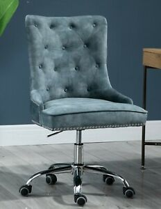 Velvet Fabric Upholstered Tufted Home Office Chair with Studs-Blue