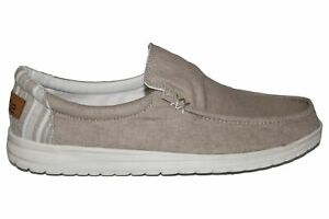 Hey Dude Mikka Chambray Beige Casual Slip On Summer Wide Fit Shoes