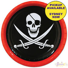 PIRATE PARTY SUPPLIES SKULL & SWORDS 8 LARGE LUNCH PAPER PLATES