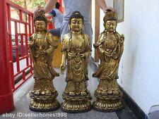 Tibet bronze carving 18-arhat Three saints of West Kwan-yin sakyamuni Buddha
