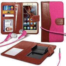 For BenQ F5 - Fabric Mix Clip Wallet Case & Earphone
