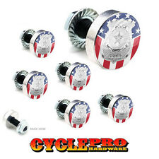 7 Pcs Billet Fairing Windshield Bolt Kit For Harley POLICE BADGE USA FLAG - 169