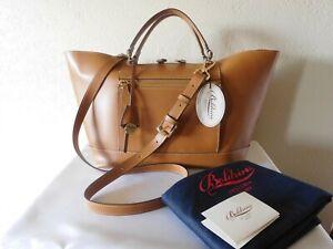 New Boldrini Selleria Vacchetta Leather Tote Camel- Crossbody Satchel Handbag