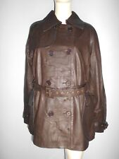 Superbe trench coat hiver mi long femme River Woods taille large 100% cuir maron