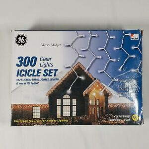 GE 300 Clear Icicle Style Light Set Merry Midget Indoor Outdoor 2 sets of 150