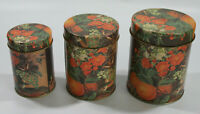 Vintage Tin Metal Floral Pattern Containers Lot of 3