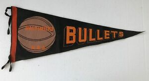 """Late 1940's 1950's Baltimore Bullets Basketball Pennant 28"""" Full Size RARE!"""