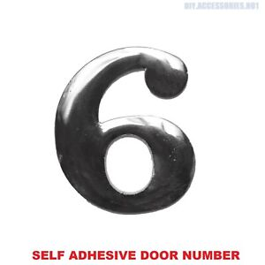 Self Adhesive House Door Number 6 Plaque Sign Chrome Home Letter Apartment Gate