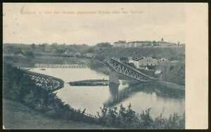 AK Grodno, von den Russen gesprengte Brücke ü. den Njemen, gelaufen 1915 (65891)