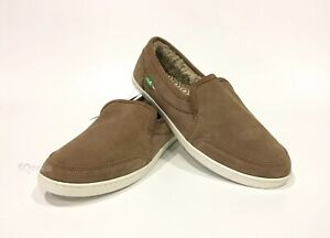 SANUK PAIR O DICE CHILL SLIP ON SNEAKERS TOBACCO BROWN SUEDE -WOMEN'S US 9 -NEW