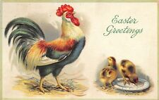 Easter~Big Green Rooster Struts~Chicks in Feed Dish~Embossed~1912 Postcard