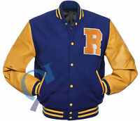 Riverdale KJ Apa Archie Bomber Varsity Letterman Blue And Yellow Leather Jacket