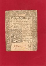 More details for colony of conneticut forty shillings banknote bill colonial currency 1775  am323