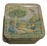 Vintage Meister Made in Brazil Metal Candy Tin Box Bears Couple Having A Picnic