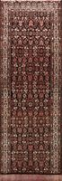 Semi Antique Hamedan Hand-knotted Geometric Runner Rug Wool Oriental Carpet 4x13