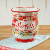 Utensil Holder Pioneer Woman Vintage Rustic Farmhouse Floral Chef Countertop