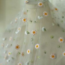 New Daisy Flower Lace Fabric Voile Mesh Embroidery Tulle Skirt Curtain DIY Sheer
