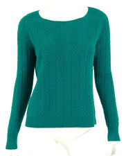 THE ROW Teal Wool Blend Long Sleeve Cable Knit Sweater XS