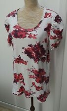 M&Co Ladies Plus Size XXL 20 22 White Red Floral Print Tunic Top Summer Wear +