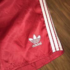 Vtg 80s ADIDAS Red TREFOIL Logo Athletic Shorts Shiny Glanz Nylon Mens XS SMALL