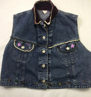 Denim Bling Vest Women's Jean Jacket Sleeveless Button Down Sz XL Embellished