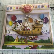 BIRTHDAY CARD, HANDMADE GOLD EMBOSSED PIRATE SHIP WITH SUPER HERO'S
