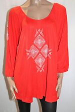 AUTOGRAPH Brand Red Bohemian Spirit Embroidered Blouse Top Size 20 BNWT #TT57