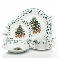Tree Trimming 20 pc Dinnerware Set Christmas Theme by Gibson Home