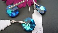 STUNNING GENUINE SOLID 925 STERLING SILVER SET PENDANT & EARRINGS  BERMUDA BLUE