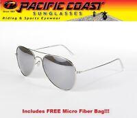 Aviator Sunglasses Aviators Pilot Chrome Frame Silver Mirror Lens Girls Ladies