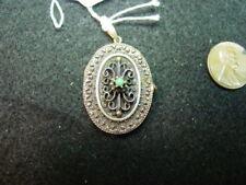 Locket With Turqouise Stone 14k Yellow Gold Filagree