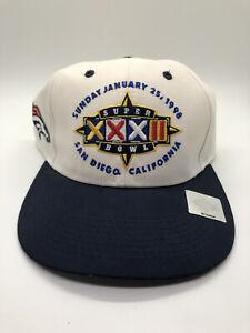Vintage NFL 1998 SUPER BOWL 32 XXXII DENVER Broncos Snapback Hat Ball Cap Clean