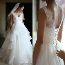 Sexy Backless Tiered Skirts Lace A Line Wedding Dresses Sleeveless Bridal Gown
