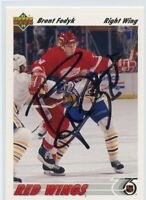 BRENT FEDYK RED WINGS AUTOGRAPH AUTO 91-92 UPPER DECK #373 *45628