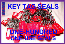 PERMANENT KEY TAG SECURITY SEALS with WRITE ON AREA, BRIGHT-RED, 100 PIECES