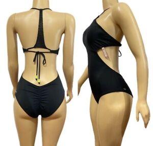 Victorias Secret Swim One Piece Bikini Monokini Medium Black Crochet Back