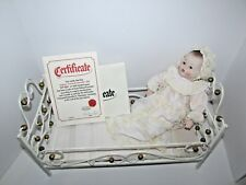 Armand Marseille German Sleepy Blue Eye Bisque Doll & Antique Iron Doll Bed