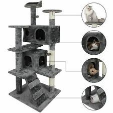 "53"" Cat Tree Scratching Condo Kitten Activity Tower Playhouse W/ Cave & Ladders"