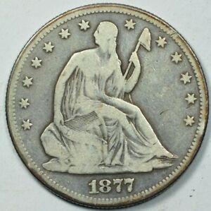 1877 S (San Francisco) Seated Liberty Half Dollar 50C Very Good Details VG+