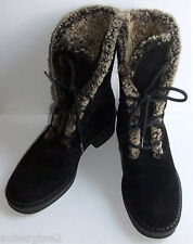 VICINI Fur-Lined Black Suede Rubber Sole Lace-Up Winter Boots, Italy, Size 36/6