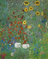 Gustav Klimt Garden With Sunflowers Fine Art Print on Canvas Wall Decor Small