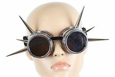 Long Spike Goggles Cyber Punk Biker Gothic Rave Cosplay Aviator Burning Man