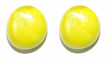 BRIGHT YELLOW OPAQUE GLASS GEM STUD or CLIP ON EARRINGS (S104)
